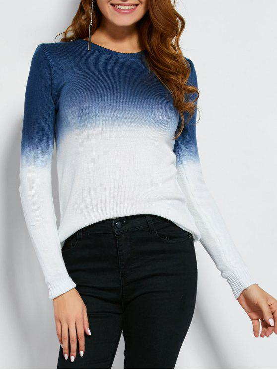 fashion Ombre Color Jumper - WHITE AND GREEN M