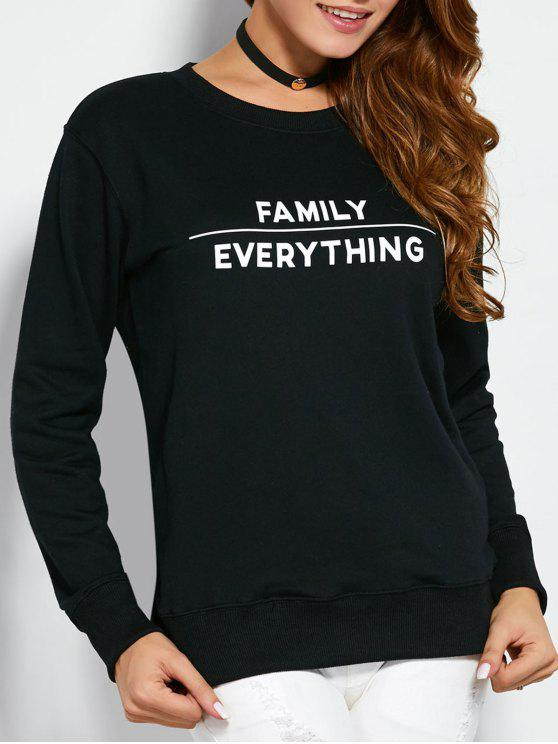 women Sweatshirt With Text Print - BLACK L