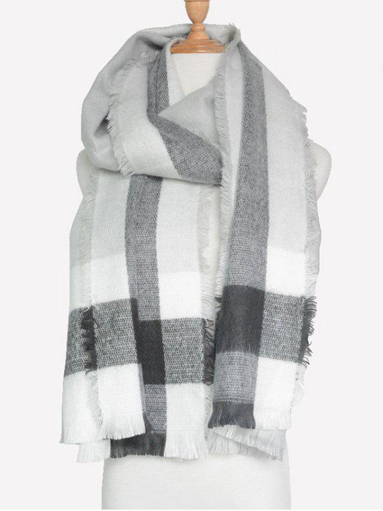 chic Check Pattern Fringed Scarf - GRAY