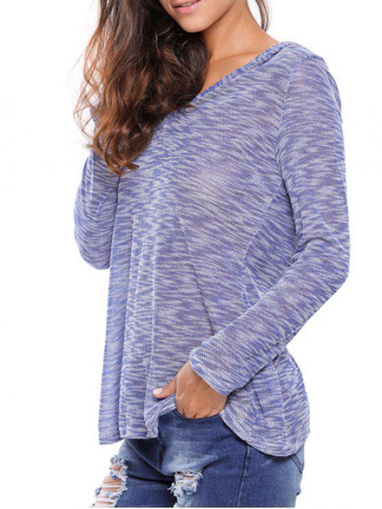 Pull gris à capuche - Bleu S