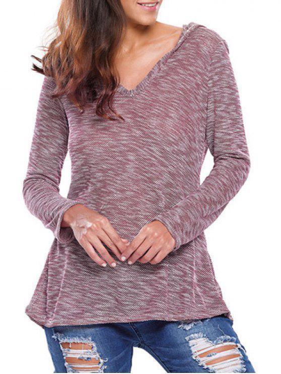 trendy Heathered Hooded Knitwear - PLUM L