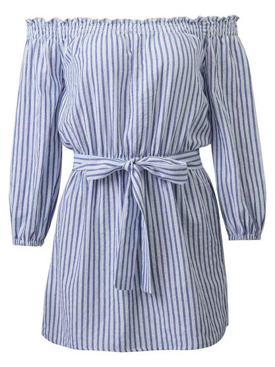 ladies Striped Off Shoulder Belted Dress - BLUE AND WHITE M