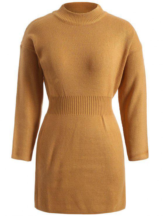 2018 Plus Size Packet Buttock Sweater Dress In Dark Khaki Xl Zaful