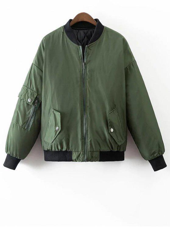 unique Crane Embroidered Zippered Souvenir Jacket - GREEN M
