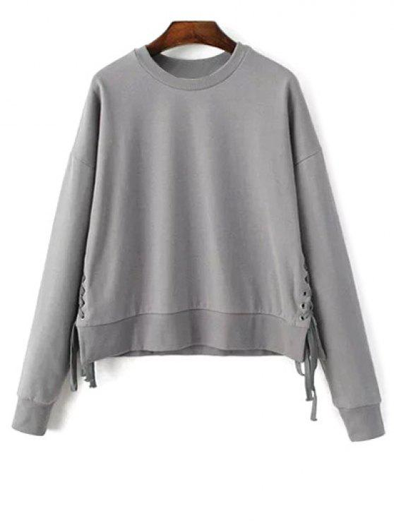 fancy Lace Up Jewel Neck Sweatshirt - GRAY ONE SIZE