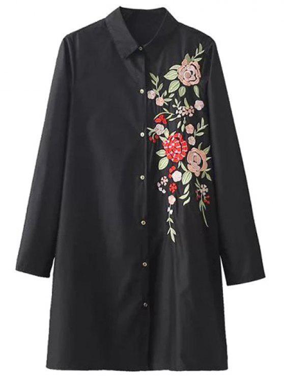 new Flower Embroidered Shirt Dress - BLACK S