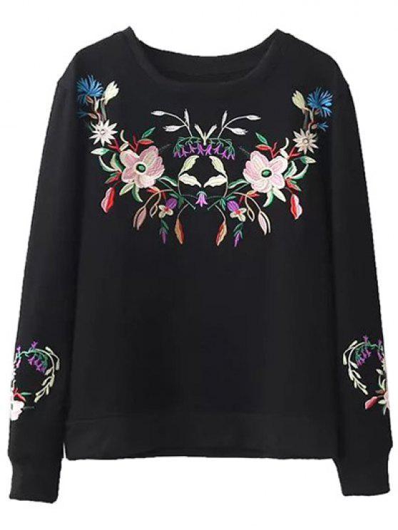 Fleeced floral camiseta bordada - Negro L