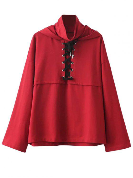 best Lace Up High Neck Hoodie - RED M
