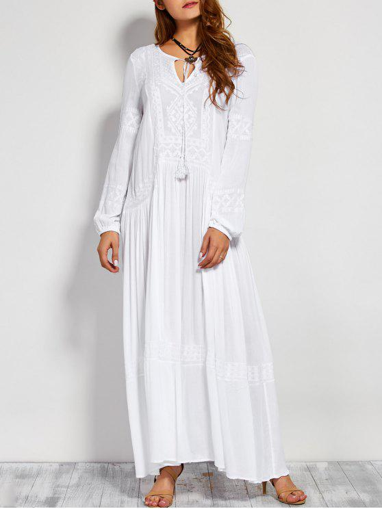 1e2b27b28262 29% OFF] 2019 Embroidered Long Sleeve Maxi Dress In WHITE | ZAFUL