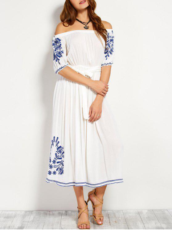 Robe longue brodée à épaules dénudés avec ceinture - Blanc L