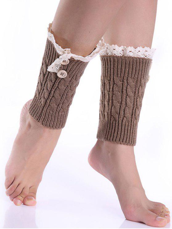 online Lace Button Cable Knitted Boot Cuffs - KHAKI