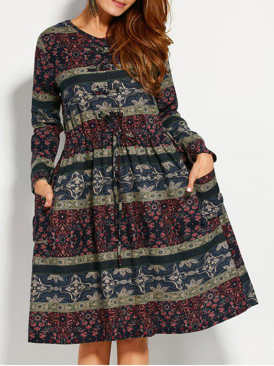 ladies Retro Print V Neck Long Sleeve A Line Dress - COLORMIX L