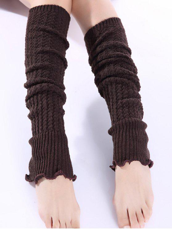 trendy Cable Knitted Leg Warmers - COFFEE
