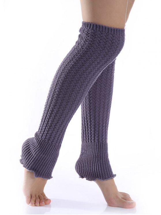 chic Cable Knitted Leg Warmers - DEEP GRAY