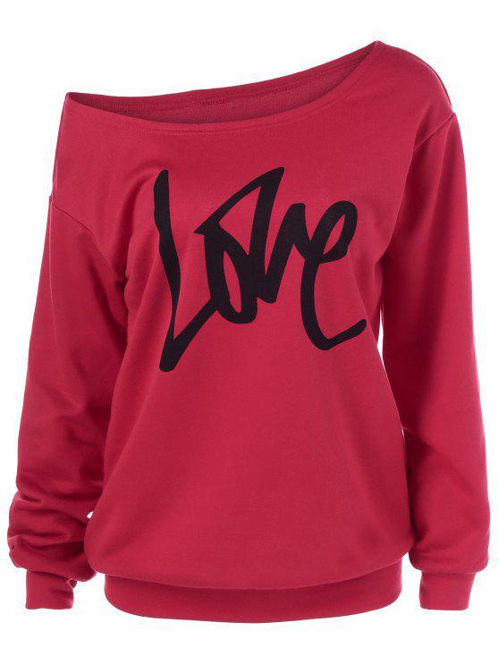 new Skew Collar Love Pattern Sweatshirt - RED XL