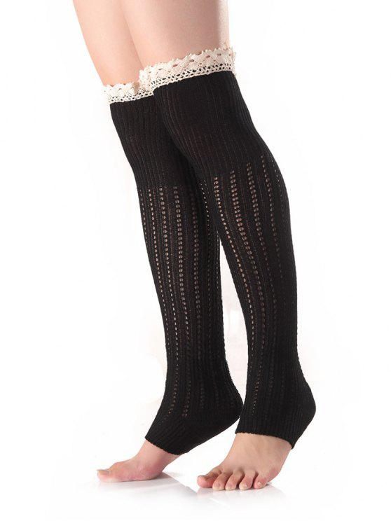 sale Lace Edge Knit Leg Warmers - BLACK