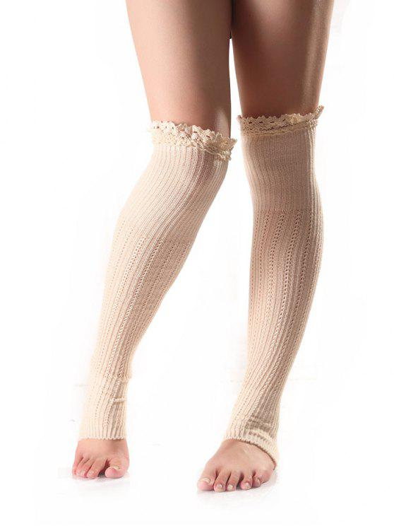 affordable Lace Edge Knit Leg Warmers - WHITE