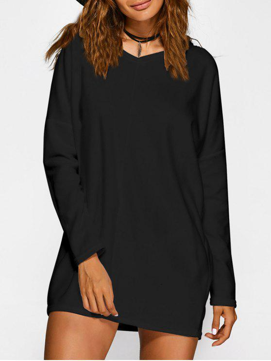 Loose Long V Neck Sweater - Preto L