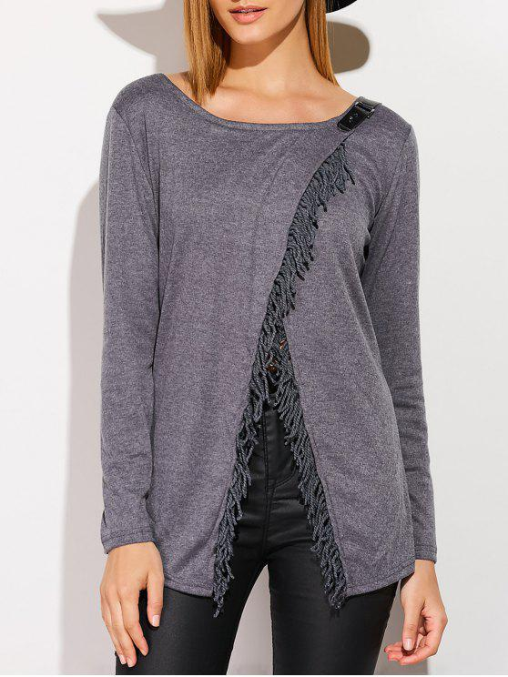 shop Tassels Long Sleeve Cardigan - DEEP GRAY M