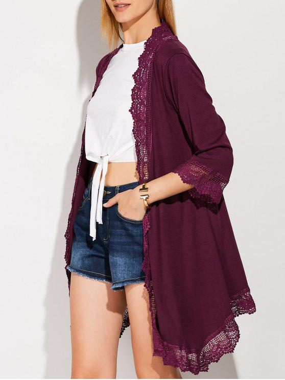 affordable Lace Spliced Duster Coat - PURPLISH RED XL