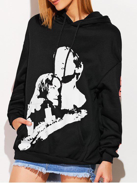 Sweat-shirt à capuche grande taille - Noir TAILLE MOYENNE