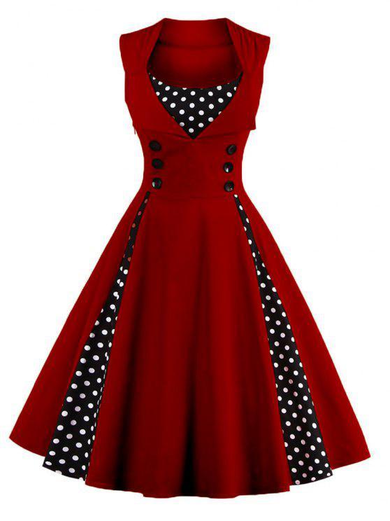 فستان كلاسيكي البولكا نقطة - نبيذ أحمر 2XL