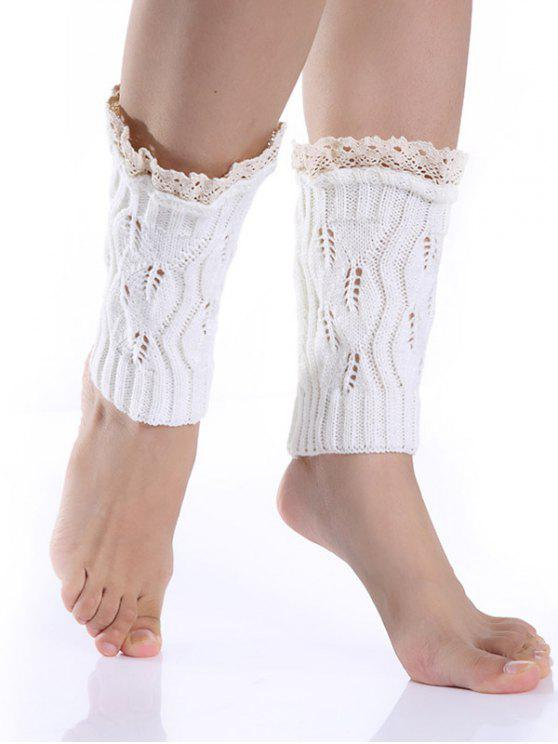 ladies Lace Edge Knitted Boot Cuffs - WHITE