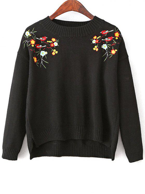 fancy Slit Embroidered High-Low Sweater - BLACK ONE SIZE