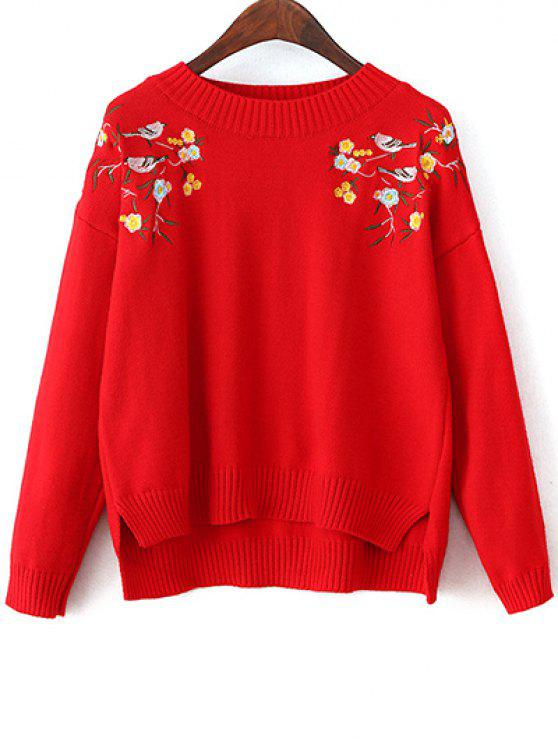 unique Slit Embroidered High-Low Sweater - RED ONE SIZE