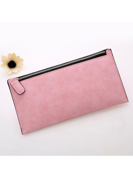 2018 PU Leather Zip Up Coin Purse In PINK