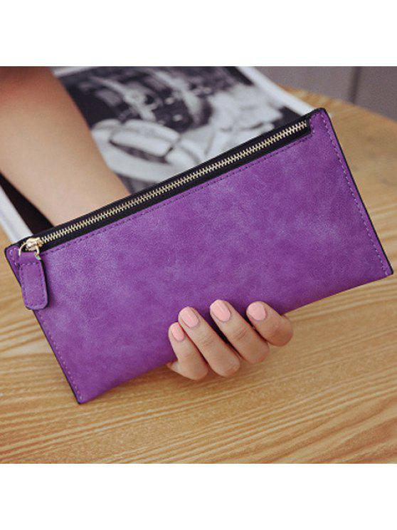 2019 PU Leather Zip Up Coin Purse In PURPLE