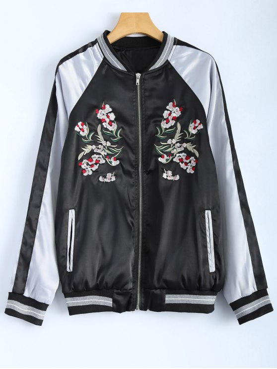best Color Block Embroidery Jacket - BLACK L