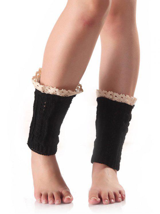 chic Lace Edge Wheat Knit Boot Cuffs - BLACK