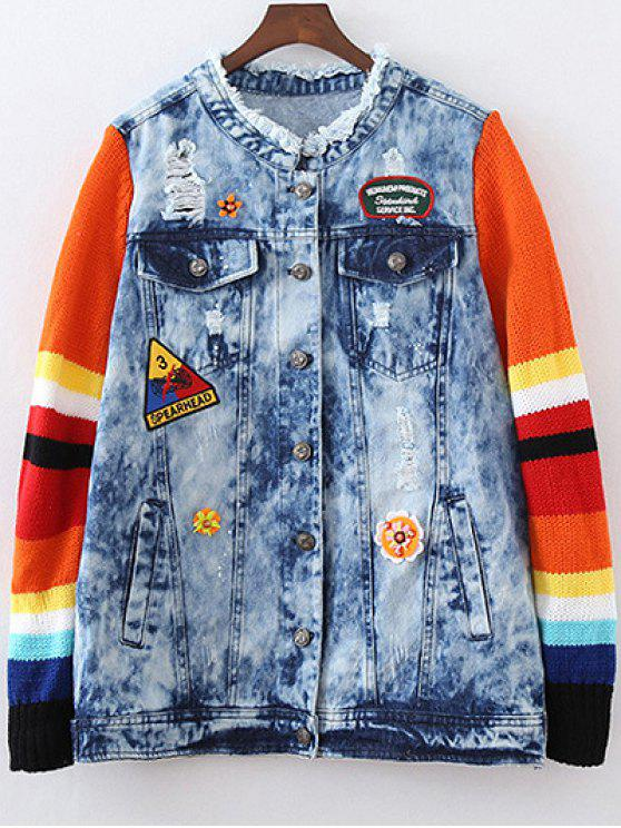lady Denim Splicing Ripped Patched Jacket - BLUE M