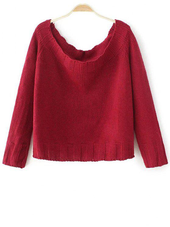 affordable Off The Shoulder Cropped Sweater - RED ONE SIZE