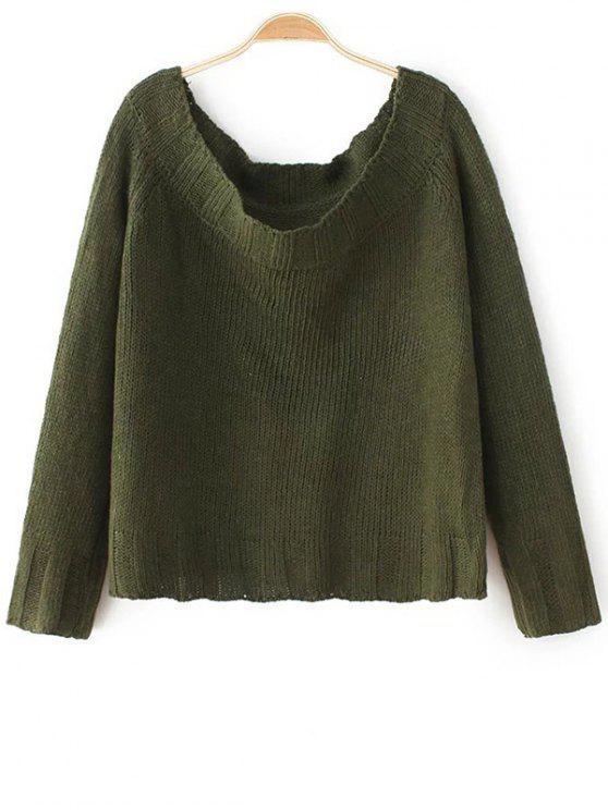 Fuera del hombro recortada suéter - Verde del ejército Única Talla