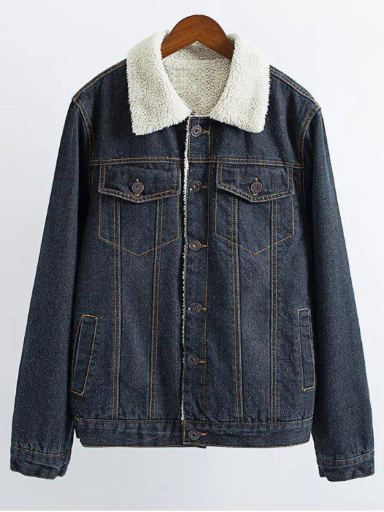 women Lamb Wool Denim Jacket - BLACK S
