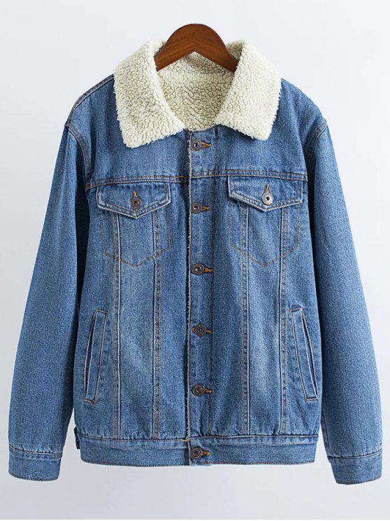 a73d7f0c6413 28% OFF  2019 Lamb Wool Denim Jacket In LIGHT BLUE