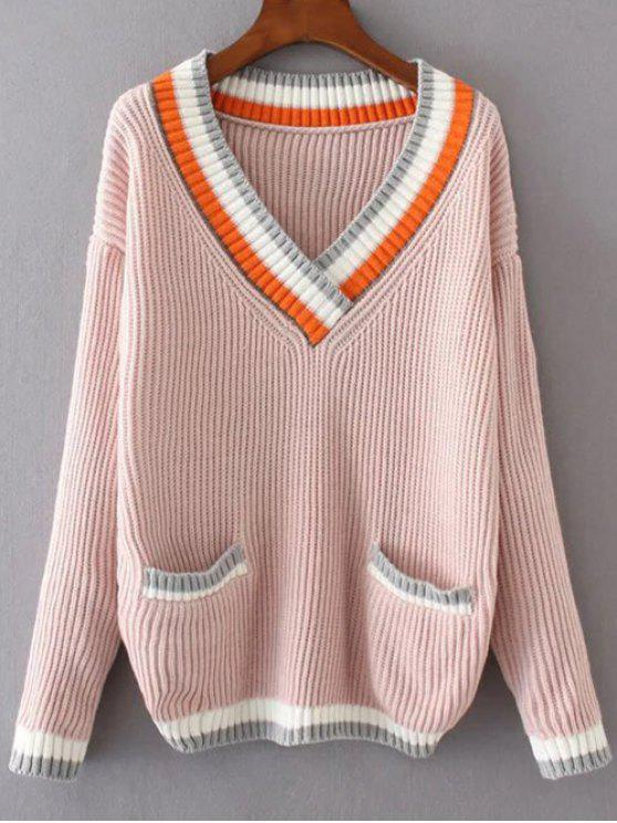 Casual Color Block V Neck Sweater PINK WHITE