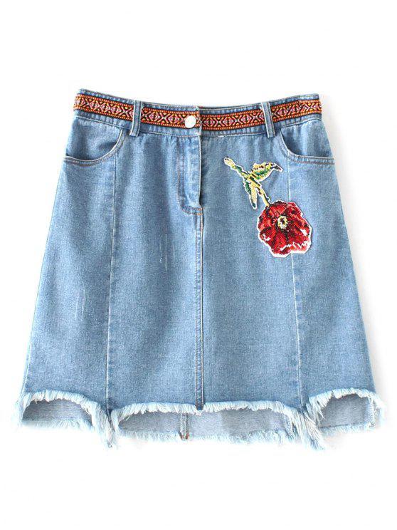 Asimétrica floral de la falda del dril de algodón - Azul Claro M