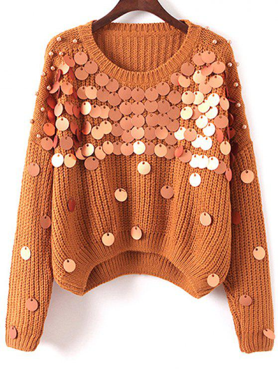 affordable Sequined Chunky Sweater - KHAKI ONE SIZE