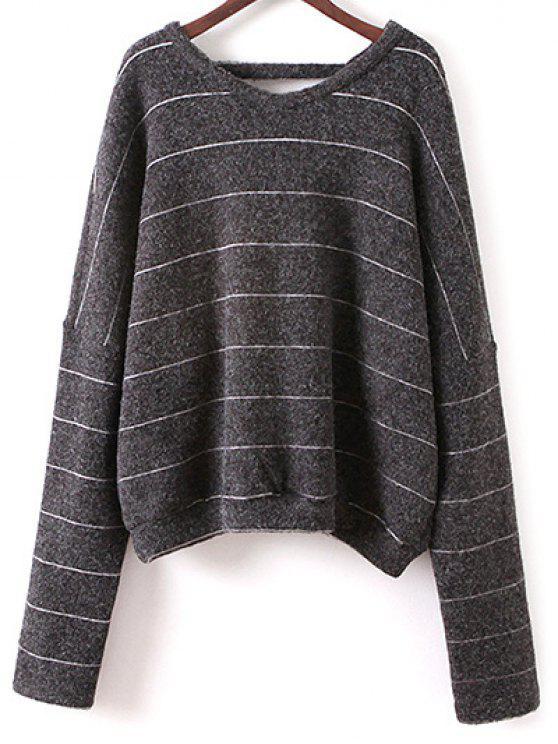 women's Striped V Neck T-Shirt - DEEP GRAY ONE SIZE