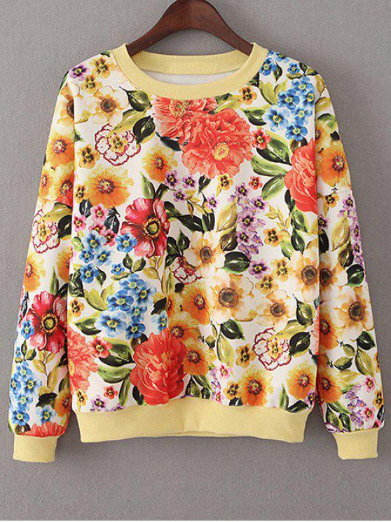 Sweatshirt large vintage floral - Tangerine S