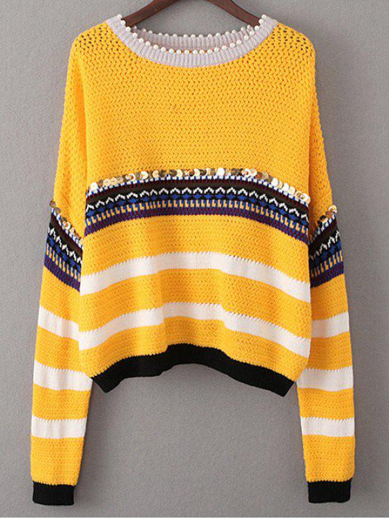 Lentejuelas rebordear suéter - Amarillo Única Talla