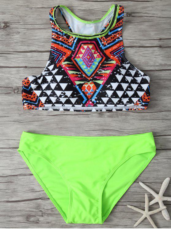 Impresa cuello redondo Set Bikini - Multicolor L
