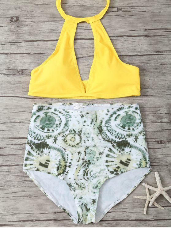 Alta subida del bikini halter escotado - Verde+Amarillo L