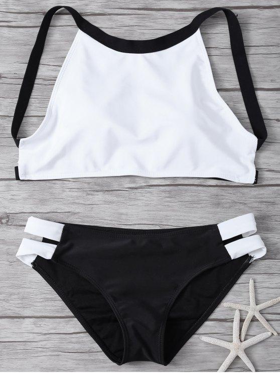 Ensemble bikini rembourré à col haut avec blocs de couleurs - Blanc et Noir M