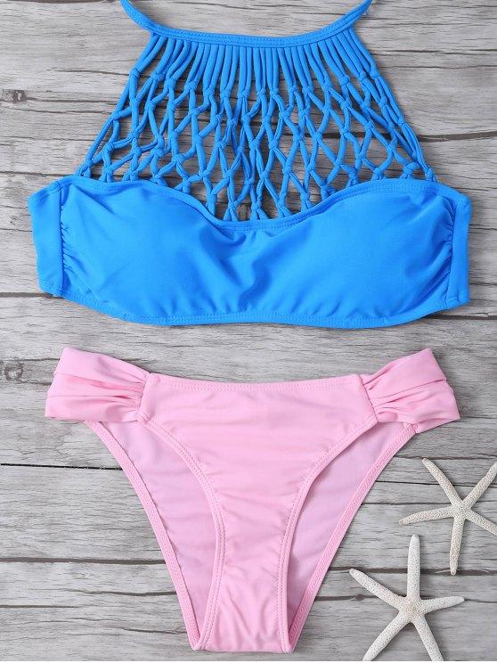 Ensemble bikini à laçage ajouré - Bleu et Rose L