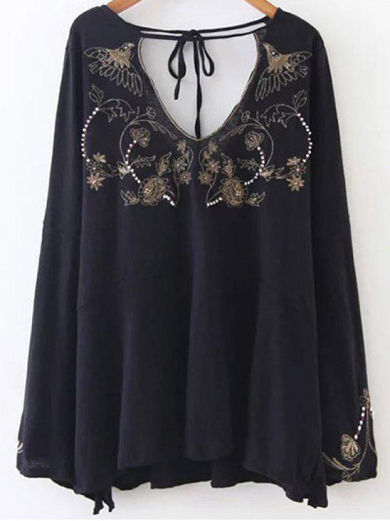 unique Embroidered Beading Flowy Blouse - BLACK L
