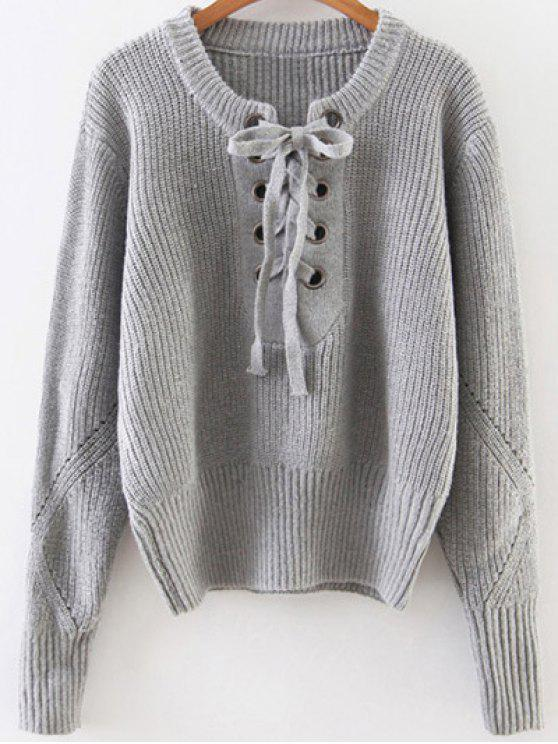 fancy Crew Neck Lace Up Ribbed Jumper - GRAY ONE SIZE